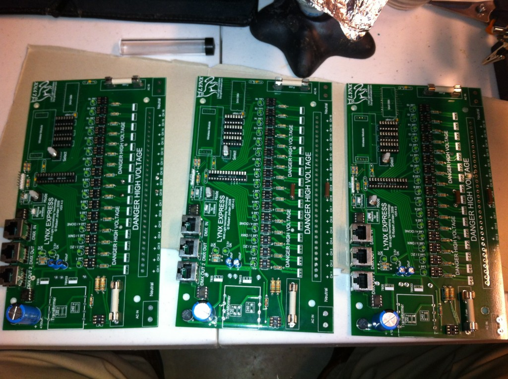 Pic of Three Lynx Express Boards Being Assembled