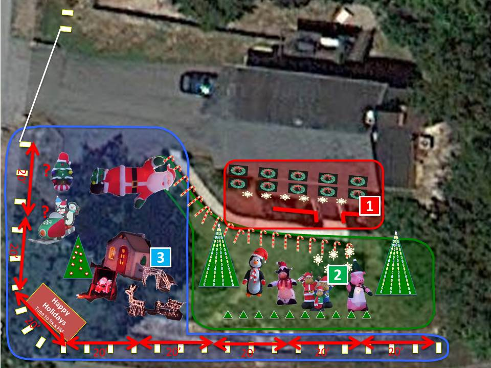 the image shows satellite imagery of the yard along with superimposed images of the various light display features.